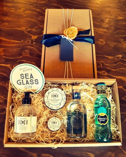Luxury Scottish 20cl Sea Glass Gin & Hoods Honey Hamper
